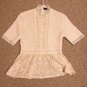 Zara women white lace blouse